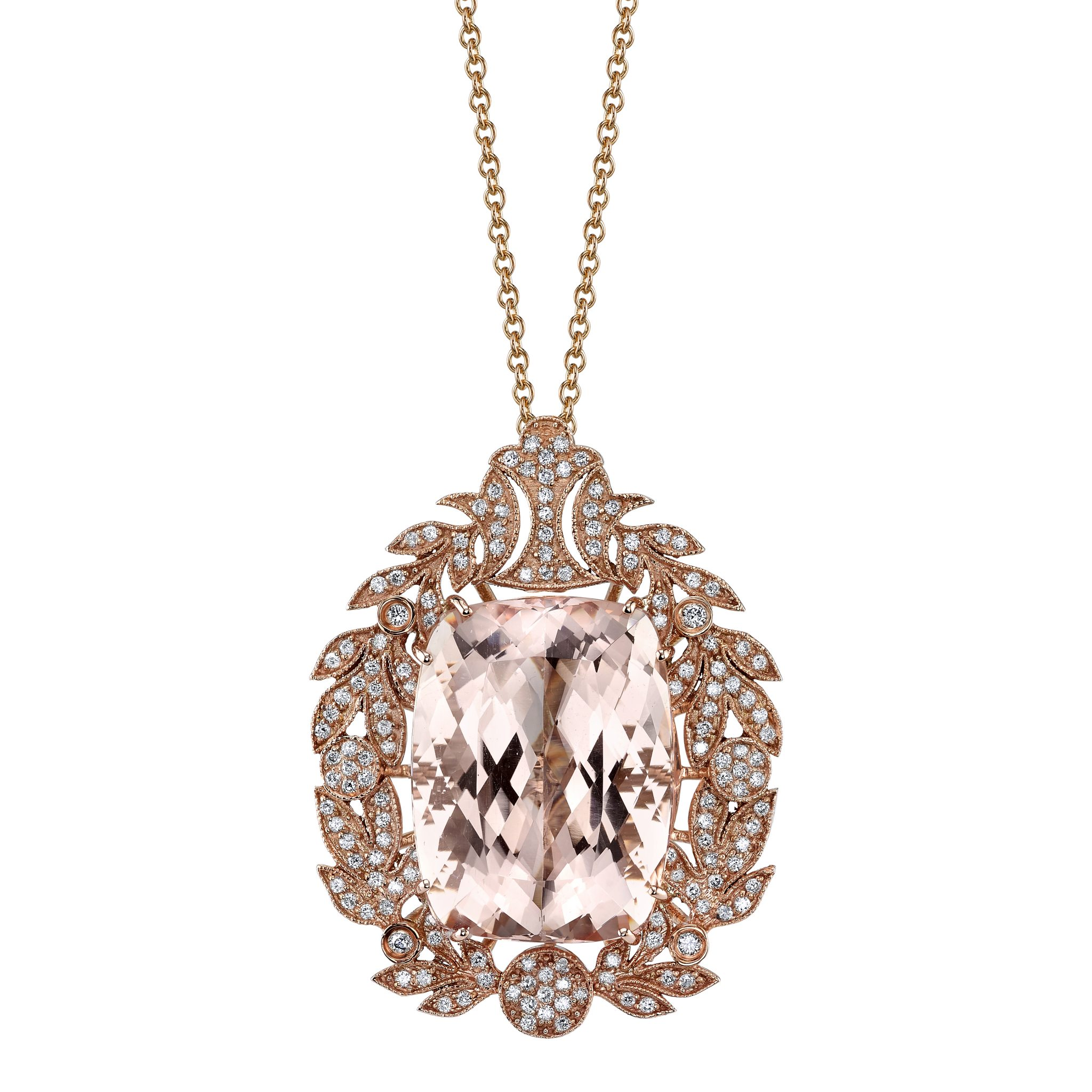 inch pendant white chain diamond emerald halo necklace cut in morganite gold tcw more mr